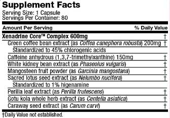 Xenadrine Core ingredients